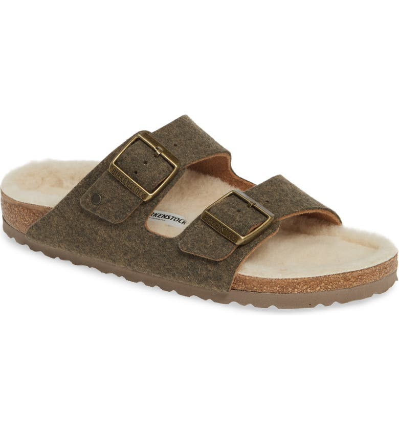 BIRKENSTOCK Arizona Slide Sandal with Faux Shearling, Main, color, GREEN