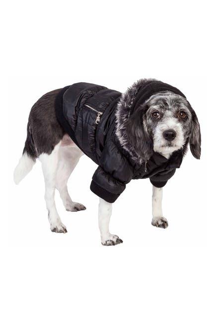 Image of Pet Life Metallic Black Fashion Pet Parka Coat - XLarge