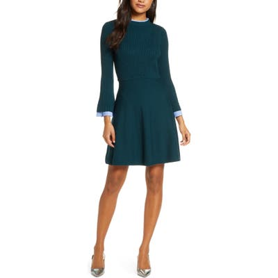 1901 Long Sleeve Fit & Flare Sweater Dress, Green