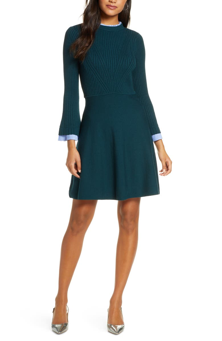 1901 Long Sleeve Fit & Flare Sweater Dress, Main, color, GREEN