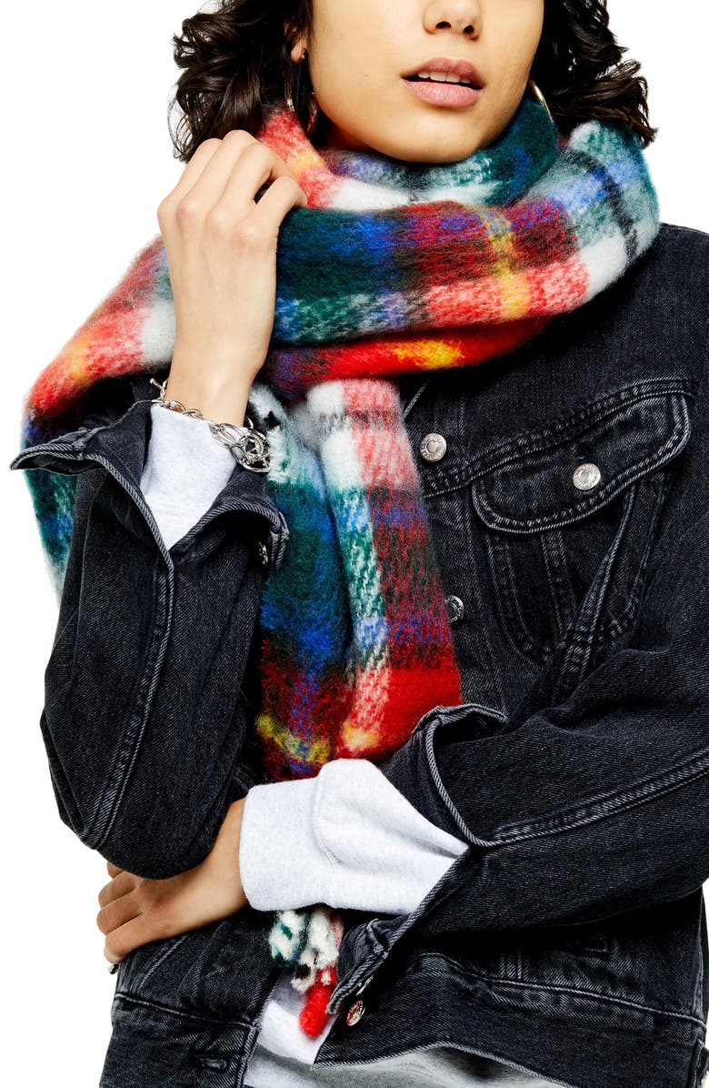 TOPSHOP Tartan Scarf, Main, color, RED MULTI