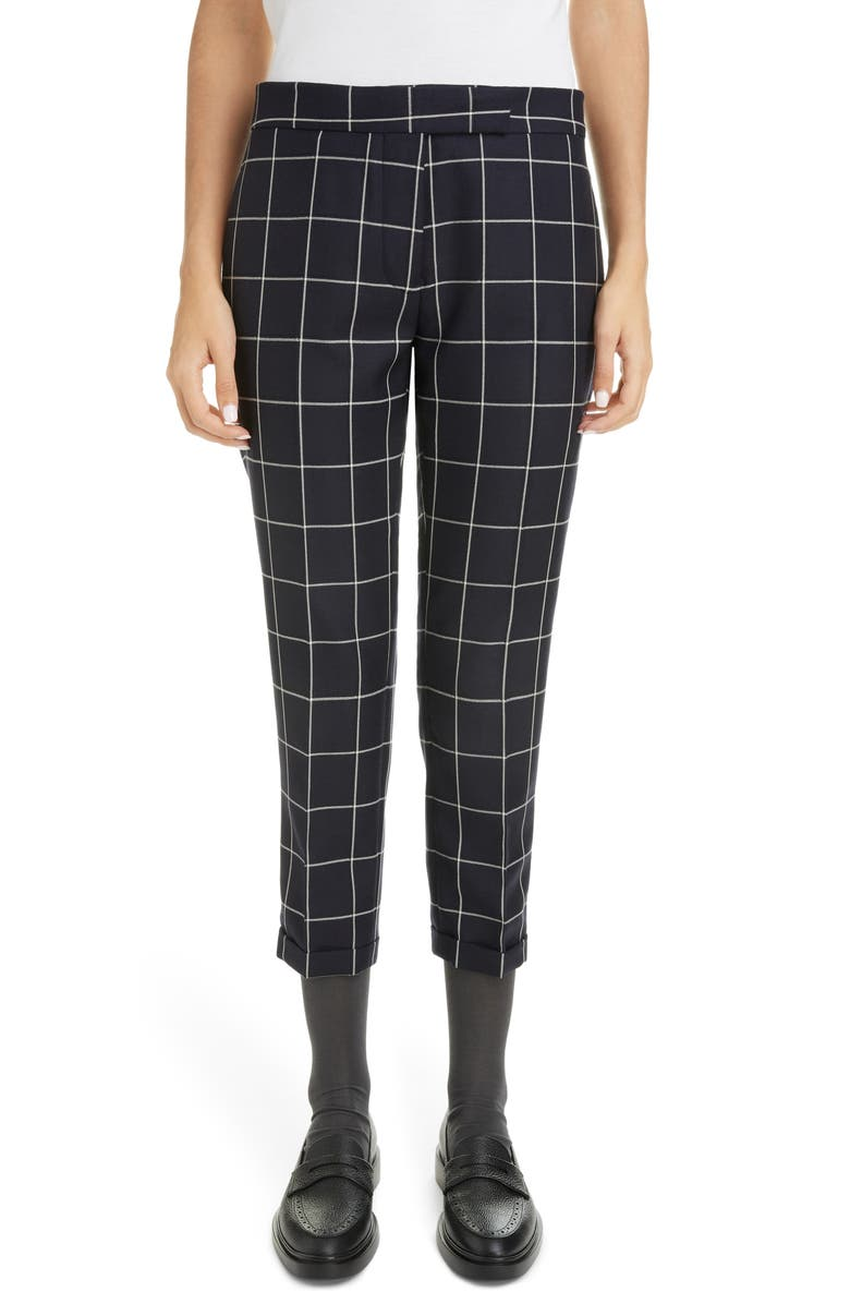 THOM BROWNE Windowpane Check Skinny Trousers, Main, color, NAVY