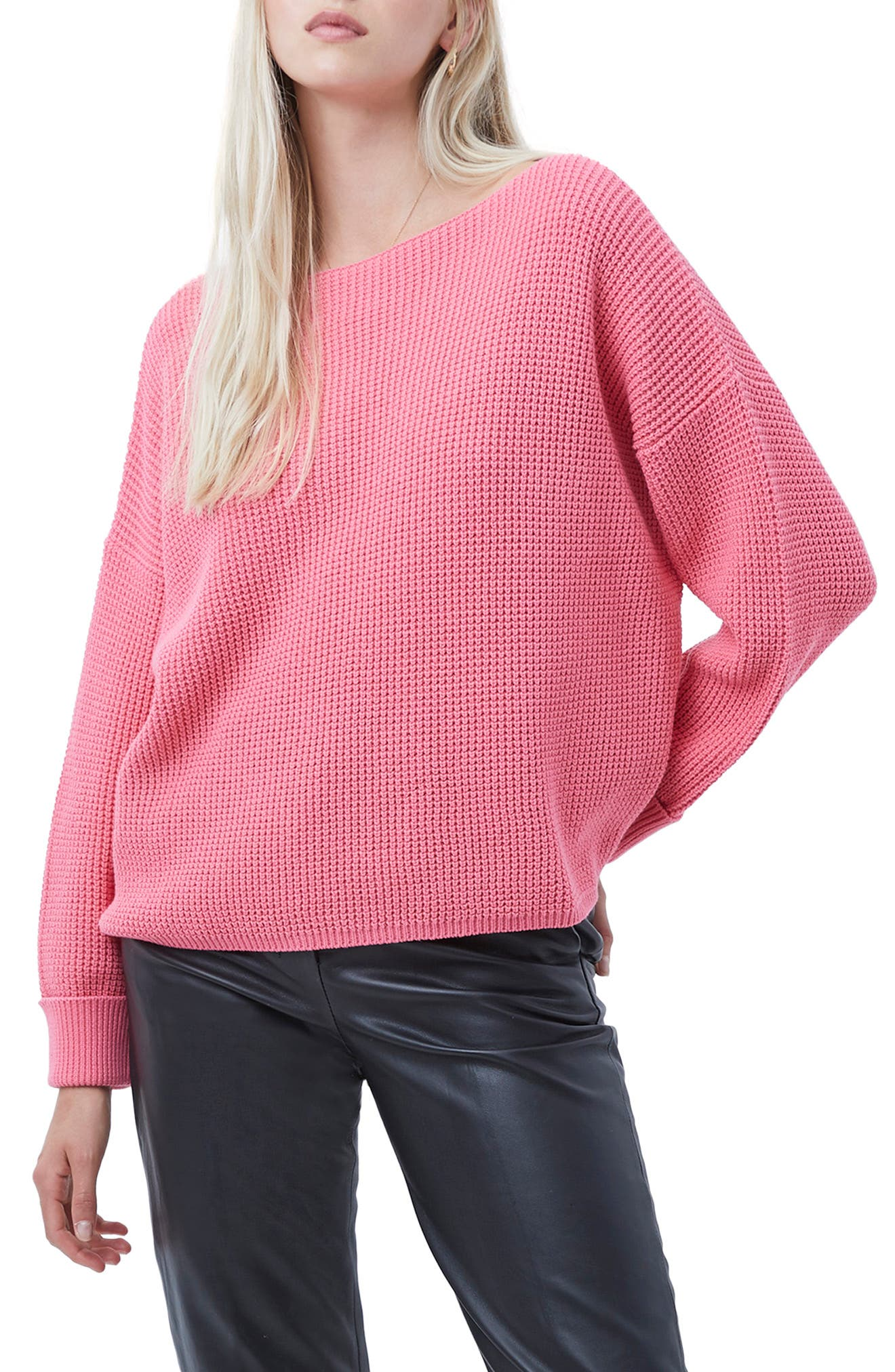 This textured, waffle-knit pullover is topped with an elongated neckline and framed by slouchy drop-shoulder sleeves. Style Name: French Connection Millie Mozart Waffle Knit Sweater. Style Number: 6102378. Available in stores.