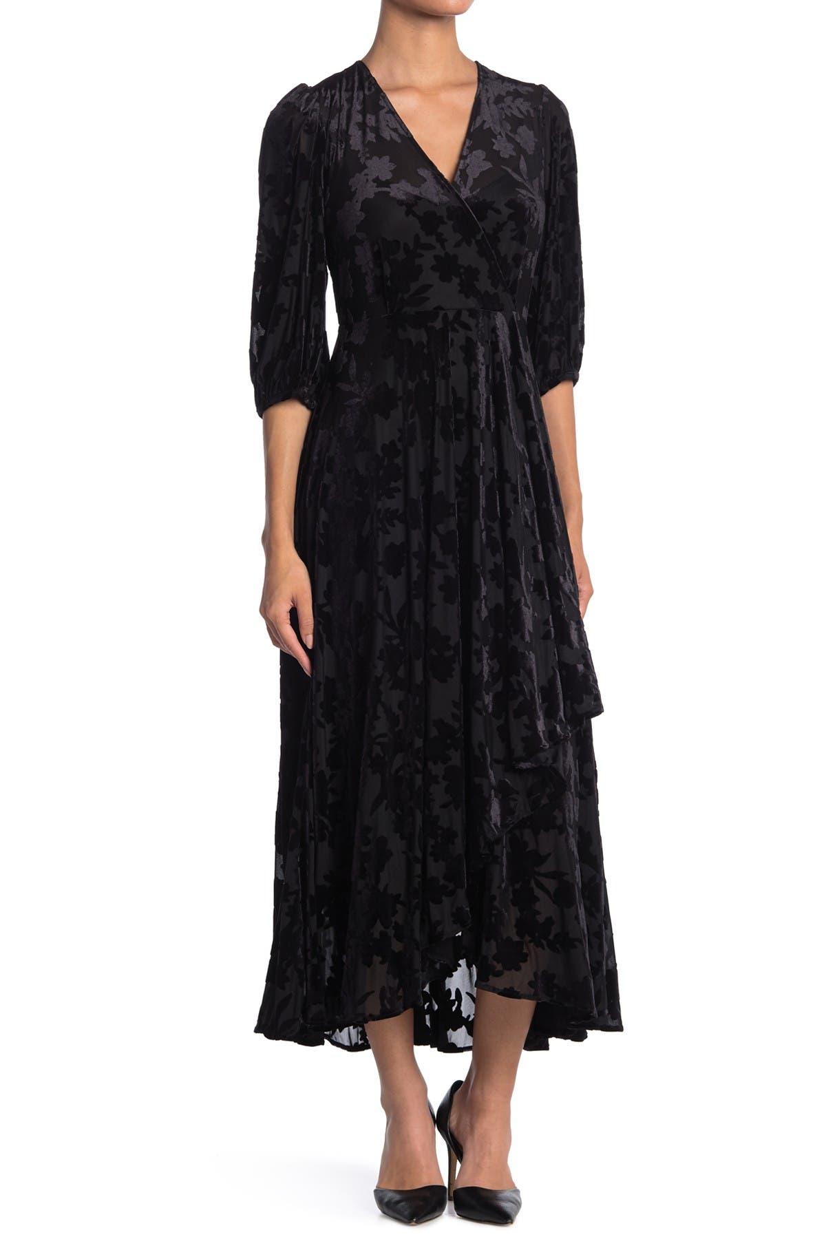 Image of Calvin Klein Burnout Velvet Maxi Wrap Dress