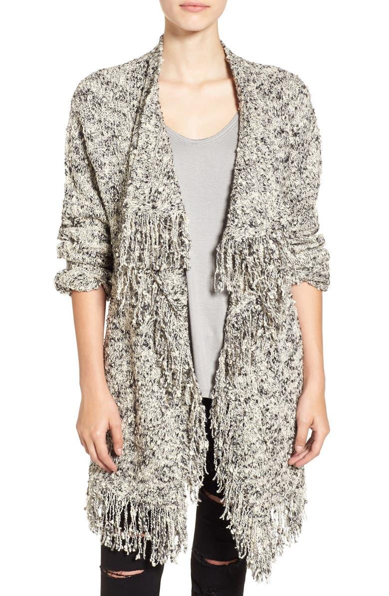 SUN & SHADOW Fringe Knit Blanket Cardigan, Main, color, 900