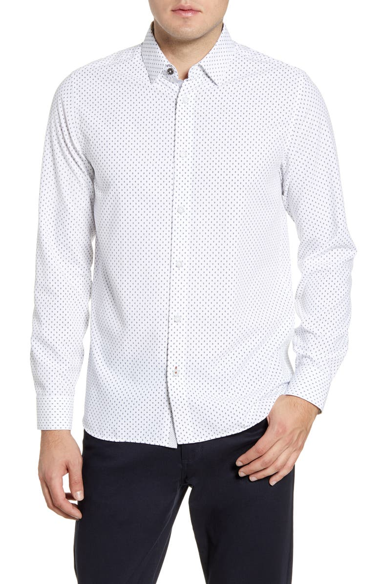TED BAKER LONDON Figtre Slim Fit Print Sport Shirt, Main, color, WHITE