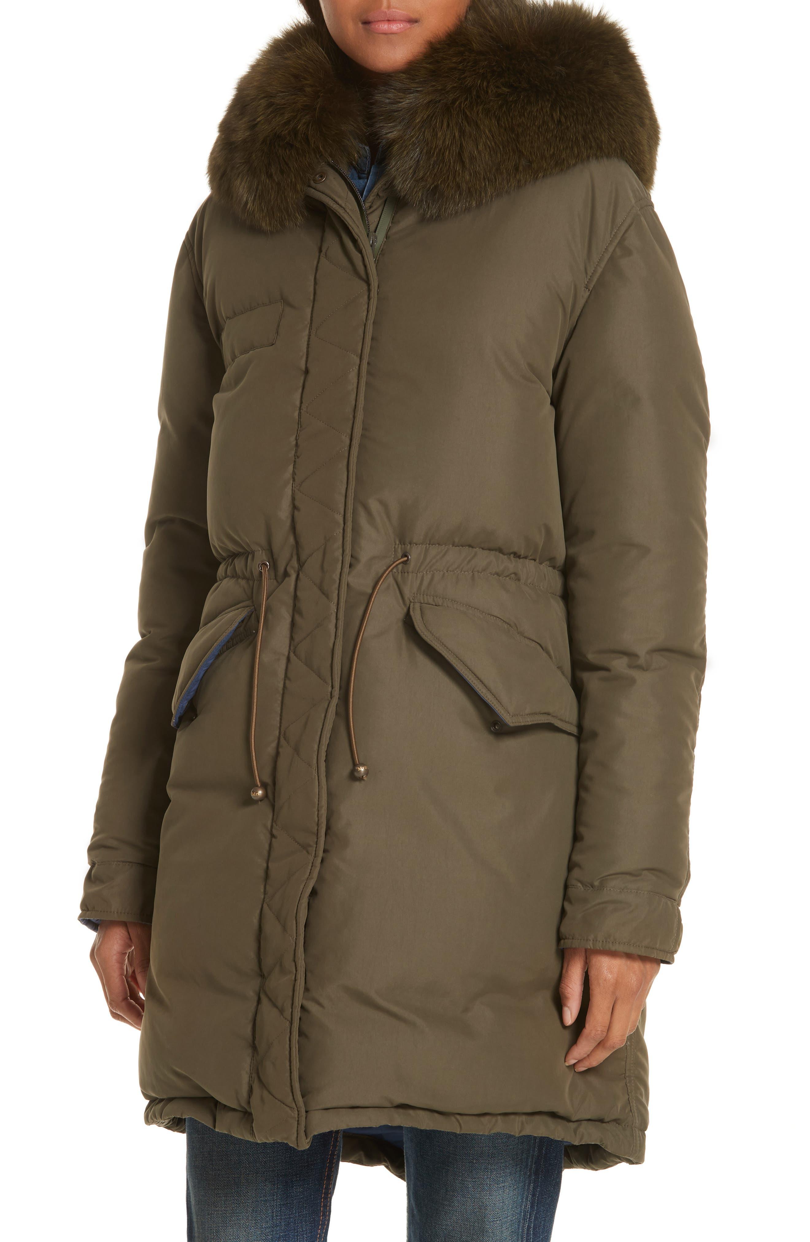 ,                             Genuine Fox Fur Trim Down Puffer Coat,                             Alternate thumbnail 5, color,                             300