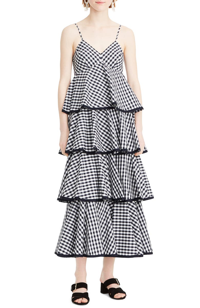 Tiered Spaghetti Strap Gingham Maxi Dress by J.Crew