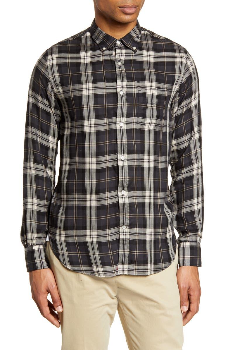 OFFICINE GÉNÉRALE Plaid Button-Down Shirt, Main, color, GREY WHITE