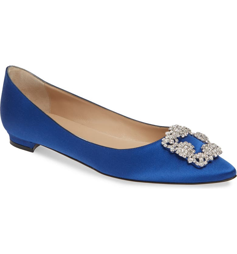 MANOLO BLAHNIK Hangisi Flat, Main, color, COBALT SATIN/ CLEAR
