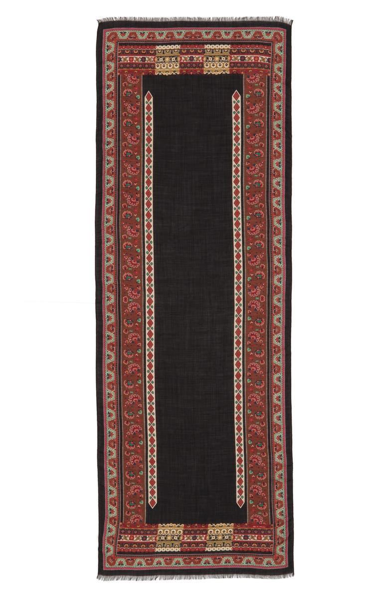 ETRO Print Fringe Wool Scarf, Main, color, BLACK
