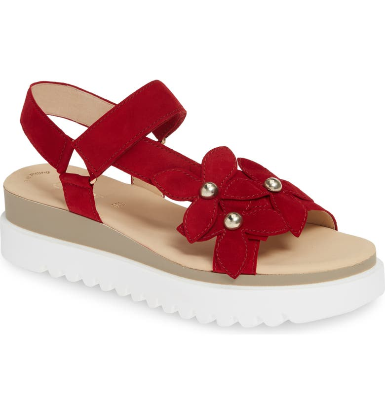 GABOR Platform Sandal, Main, color, RED NUBUCK LEATHER