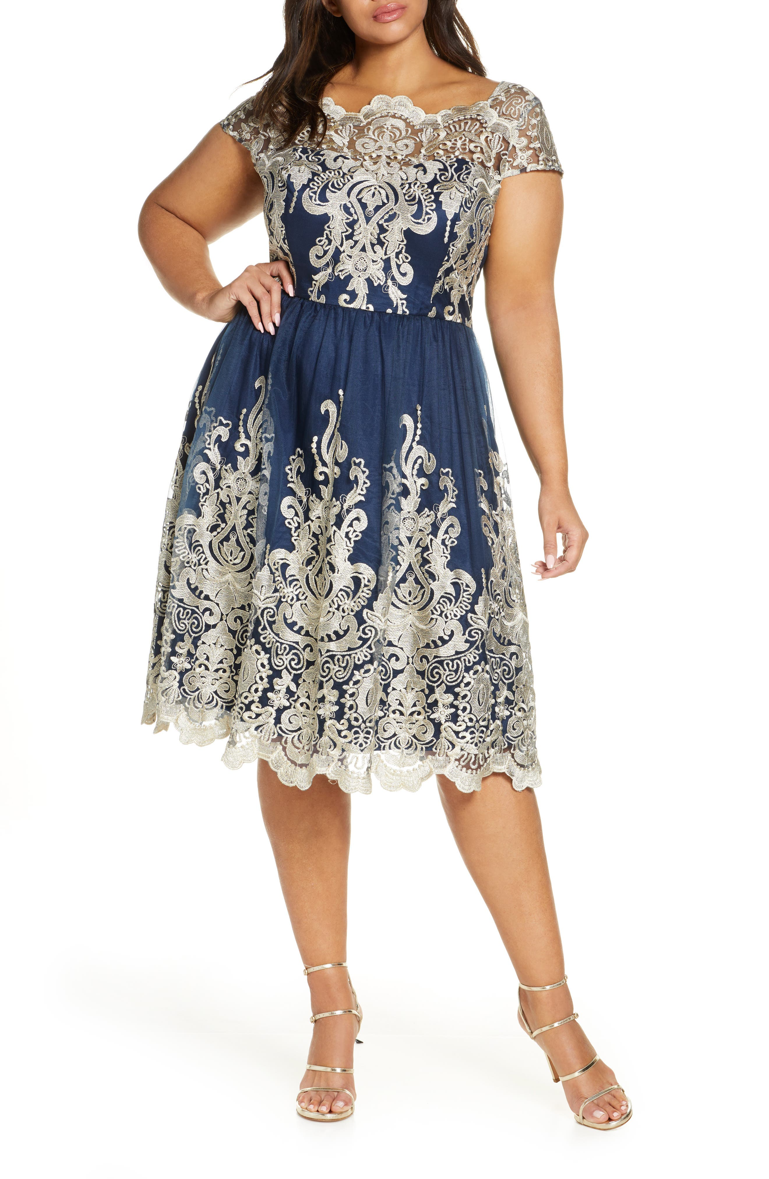 1950s Plus Size Dresses, Swing Dresses Plus Size Womens Chi Chi London Yazzy Embroidered Mesh A-Line Dress $130.00 AT vintagedancer.com