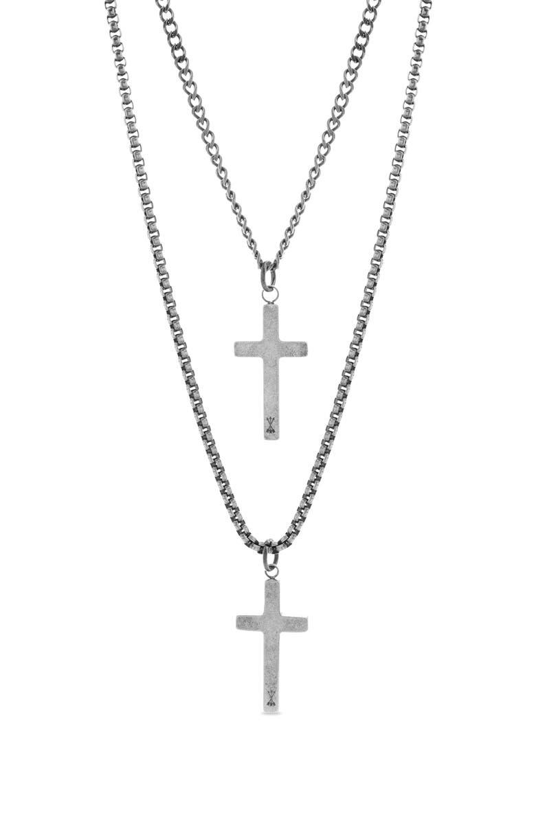 STEVE MADDEN Cross Duo Pendant Necklace, Main, color, METALLIC SILVER