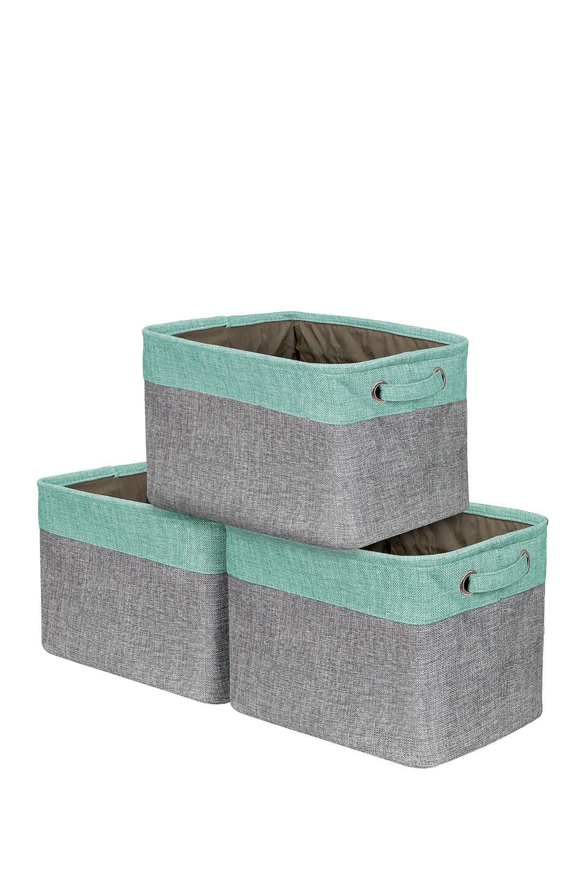 Image of Sorbus Teal Twill Storage Basket - Set of 3