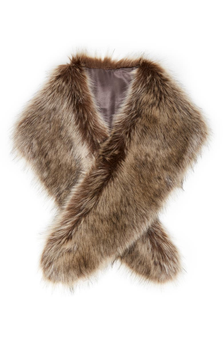 SOLE SOCIETY Faux Fur Stole, Main, color, 201