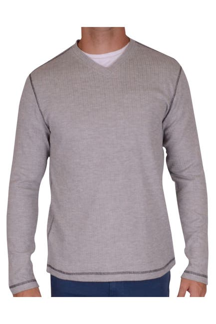 Image of Vintage 1946 Drop Needle Rib V-Neck Pullover Thermal