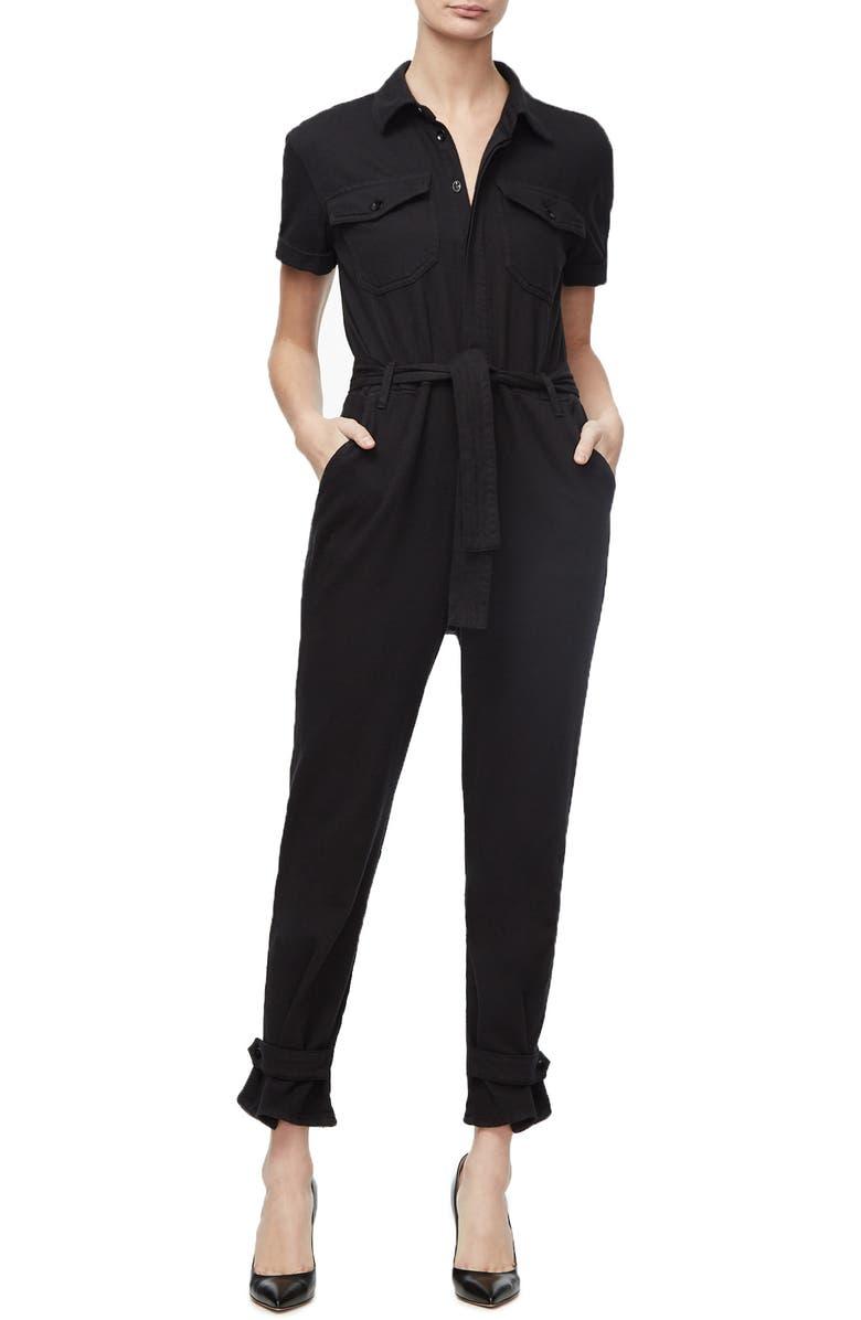 GOOD AMERICAN Short Sleeve Jumpsuit, Main, color, BLACK001