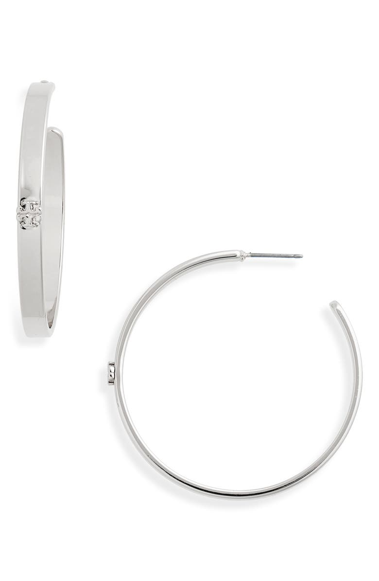TORY BURCH Kira Hoop Earrings, Main, color, TORY SILVER