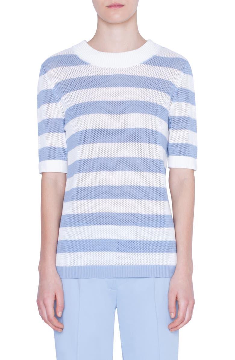 AKRIS PUNTO Kodak Stripe Short Sleeve Sweater, Main, color, BLEACHED DENIM/ CREAM