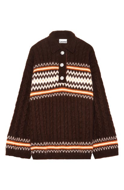 Ganni Knits FAIR ISLE POLO SWEATER