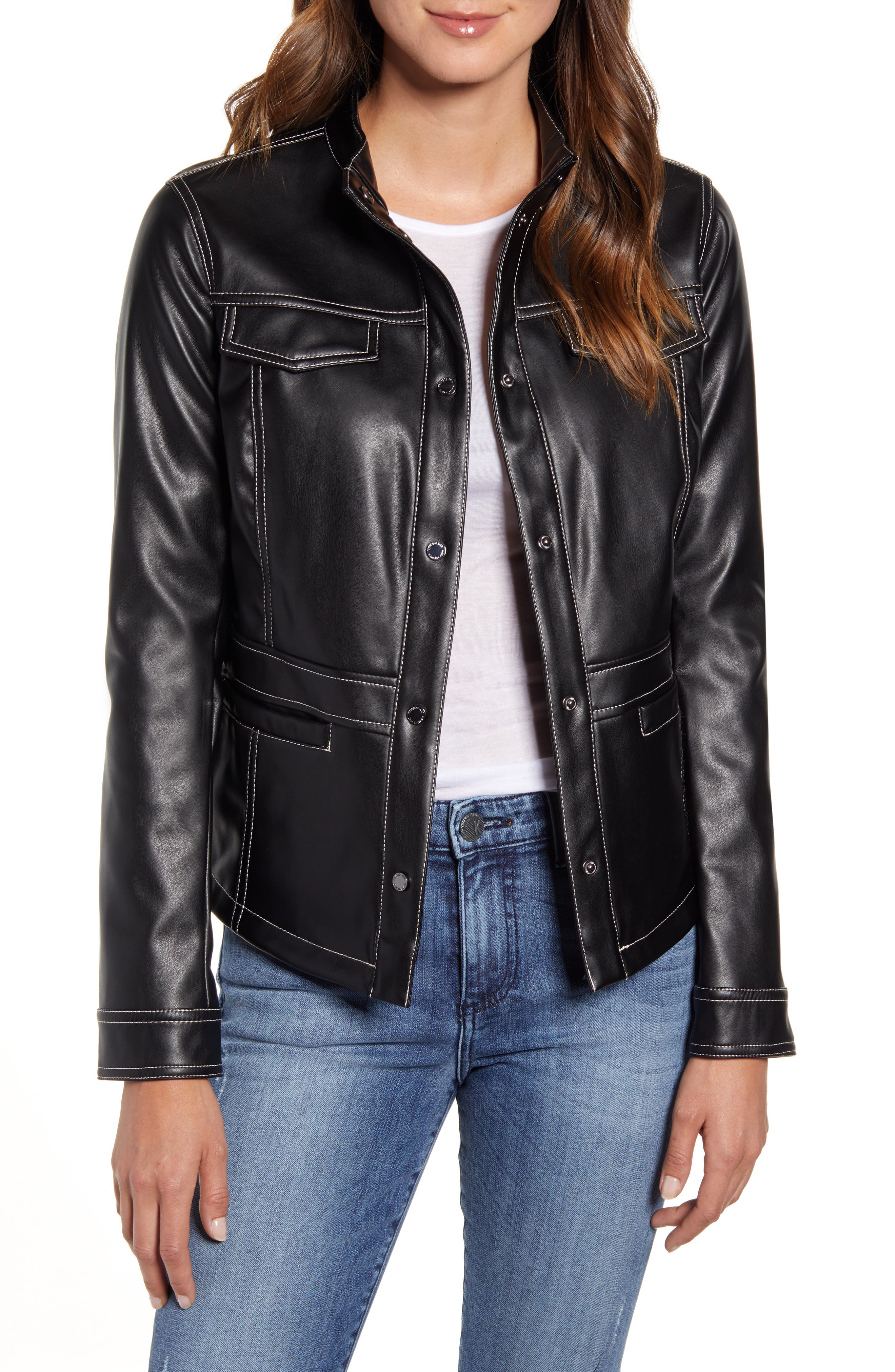 Image of Sam Edelman Faux Leather Shirt Jacket