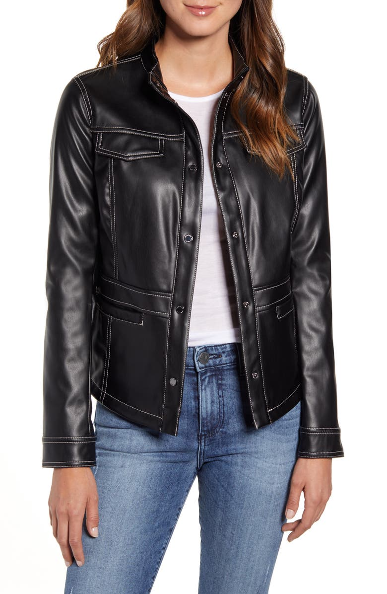 SAM EDELMAN Faux Leather Shirt Jacket, Main, color, BLACK