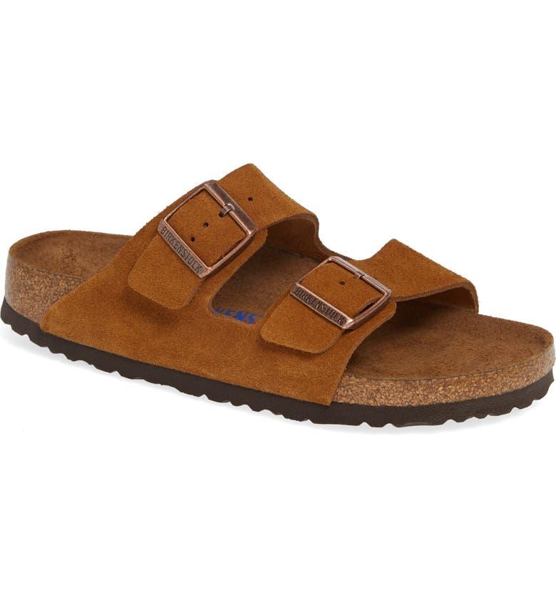 BIRKENSTOCK Arizona Soft Slide Sandal, Main, color, MINK SUEDE