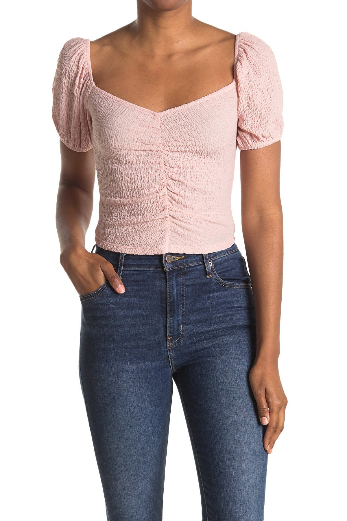 Image of Elodie Textured Knit Ruched Crop Top