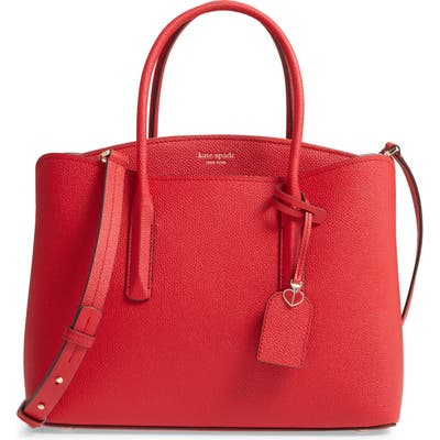 Kate Spade New York Large Margaux Leather Satchel - Red