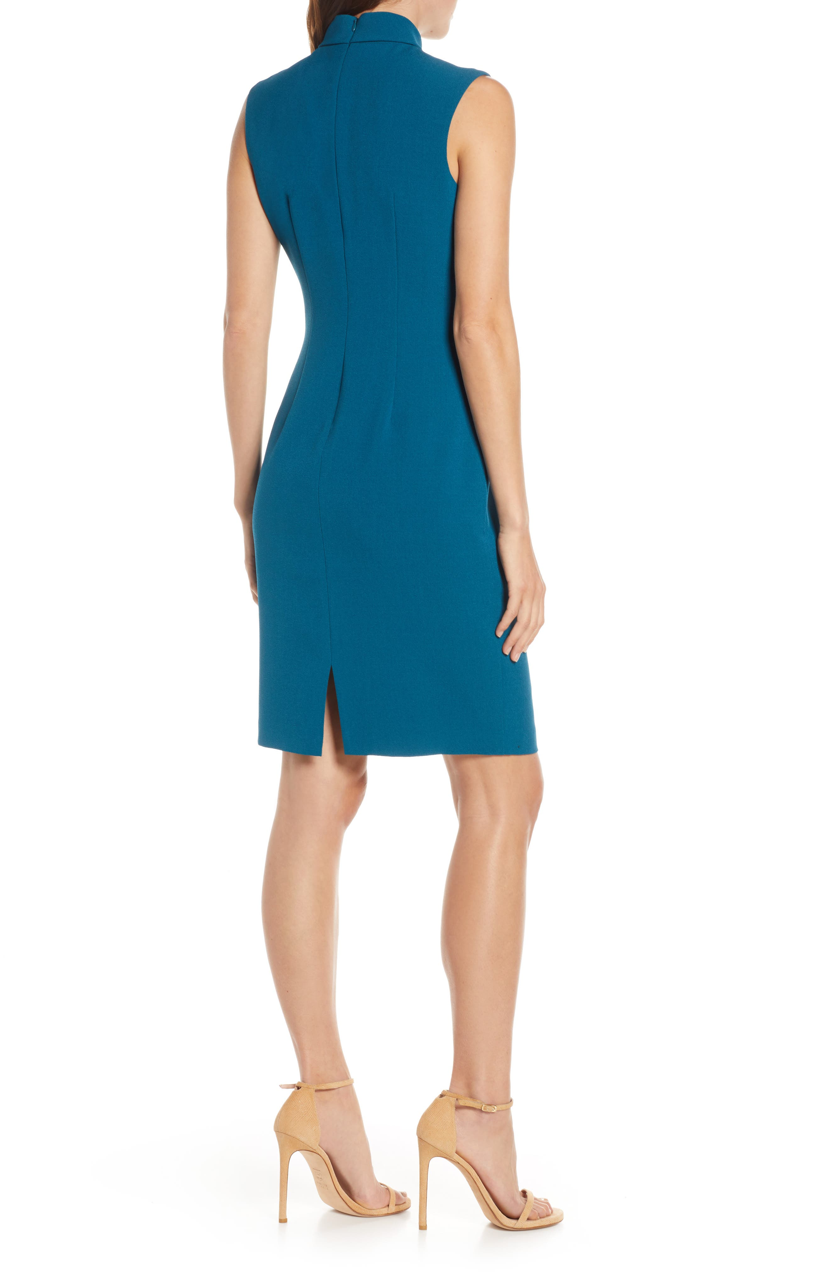 ,                             Tie Neck Sheath Dress,                             Alternate thumbnail 2, color,                             PEACOCK