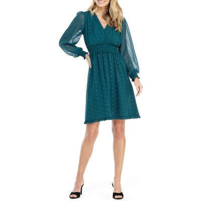 Gal Meets Glam Collection Everly Smocked Chiffon Fit & Flare Dress, Blue/green