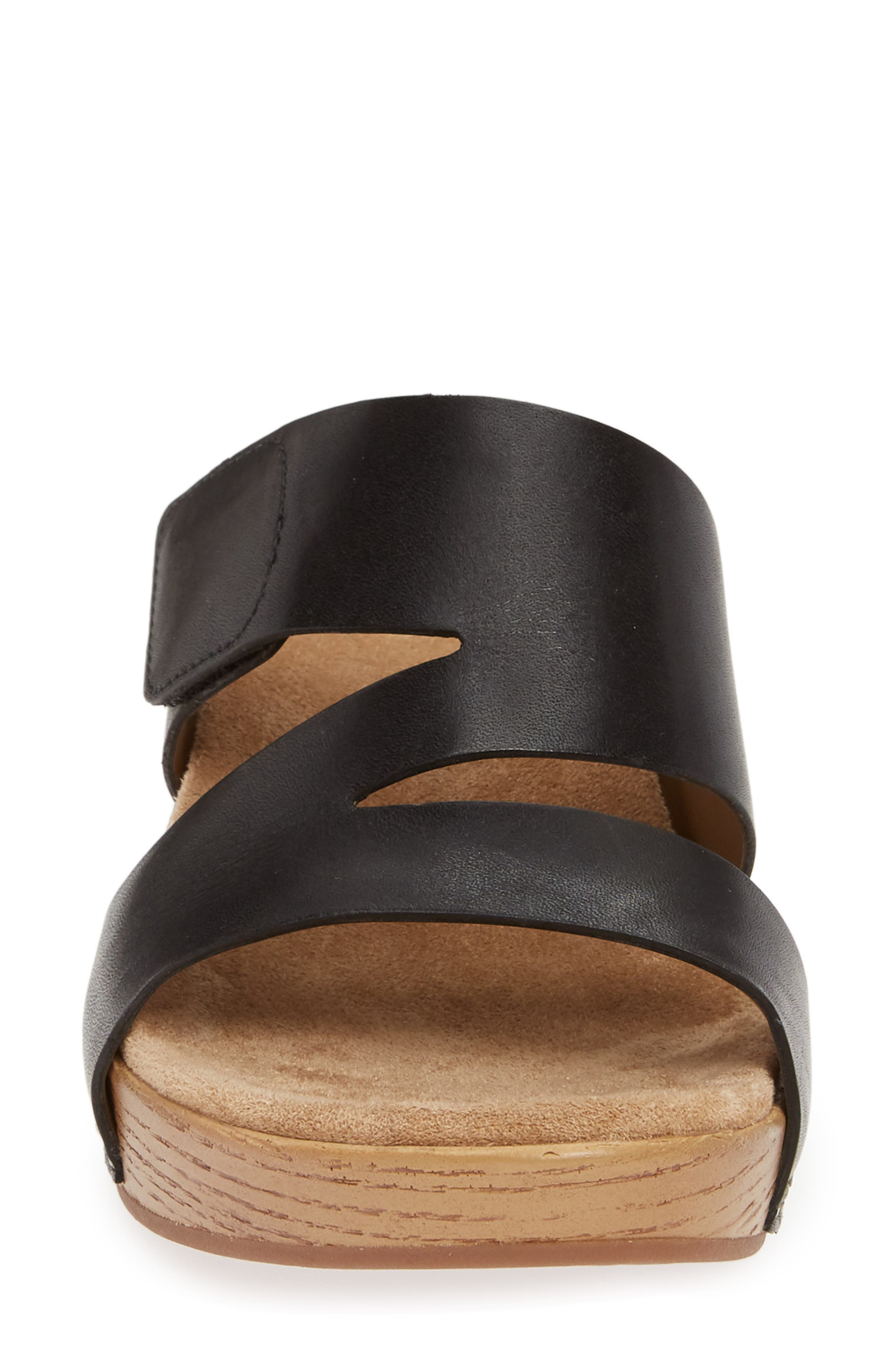 ,                             Lacee Slide Sandal,                             Alternate thumbnail 4, color,                             BLACK LEATHER