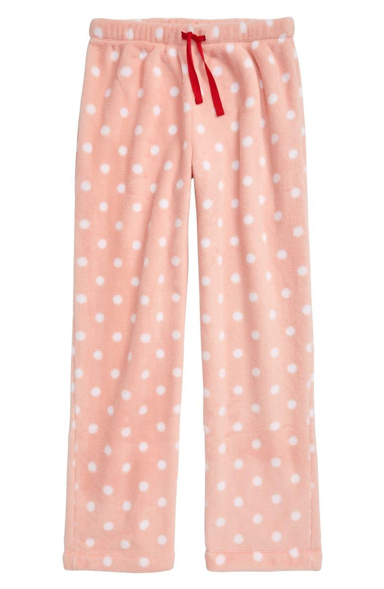 TUCKER + TATE Fleece Pajama Pants, Main, color, PINK POWDER- WHITE DOT