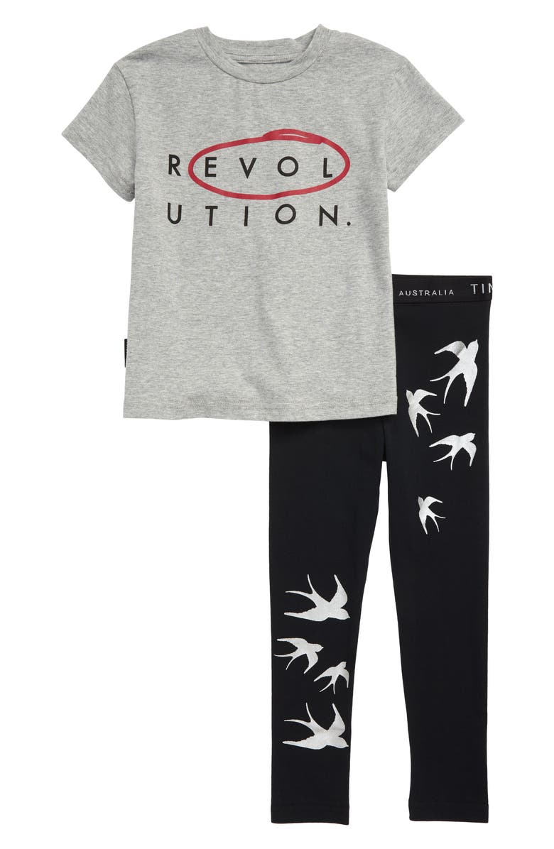 TINY TRIBE Revolution Graphic Tee & Leggings Set, Main, color, GREY / BLACK