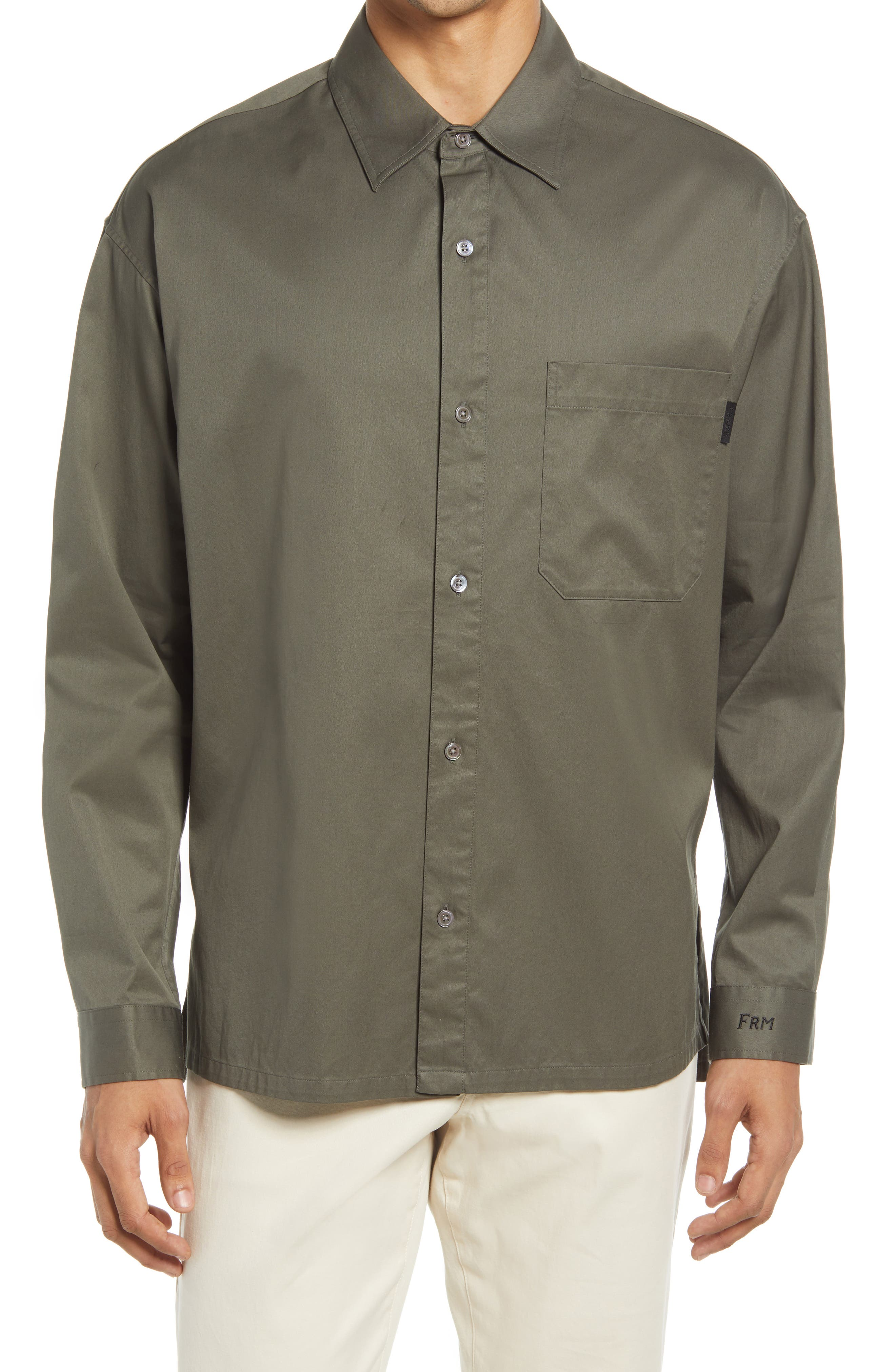 Men's Frame Relaxed Fit Button-Up Cotton Twill Shirt