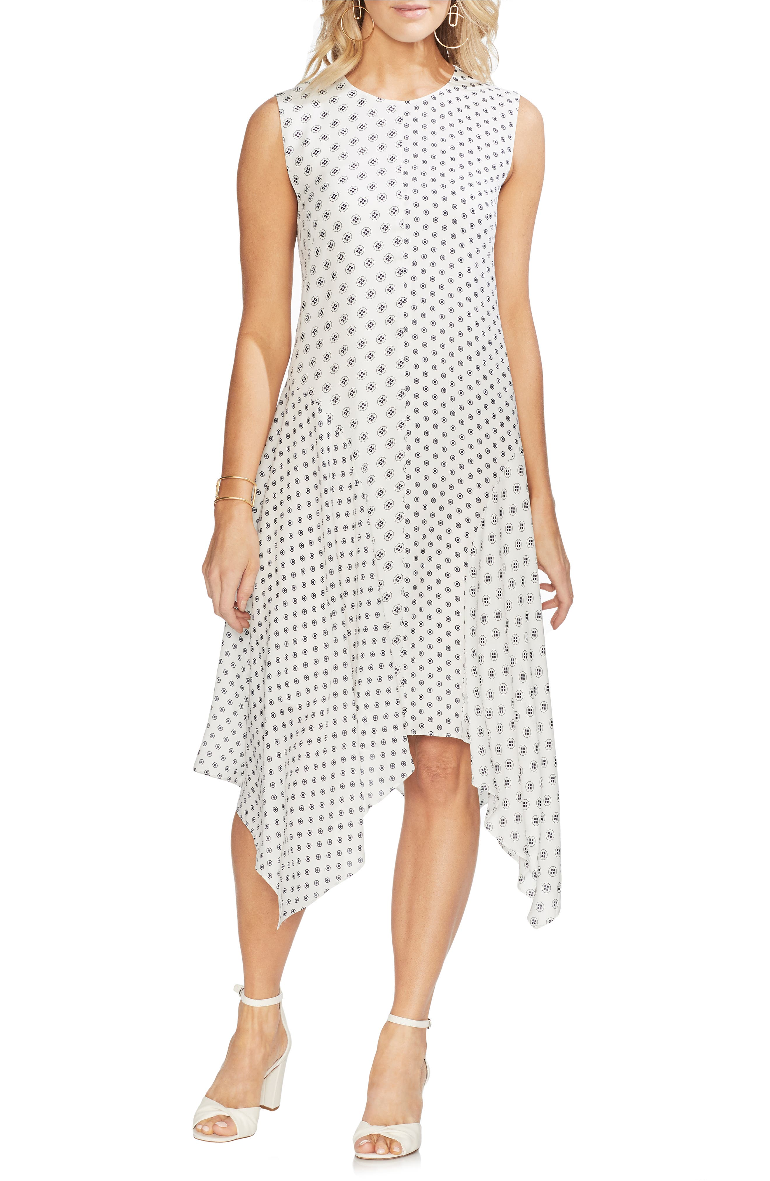 Vince Camuto Geo Asymmetrical Dress, Ivory