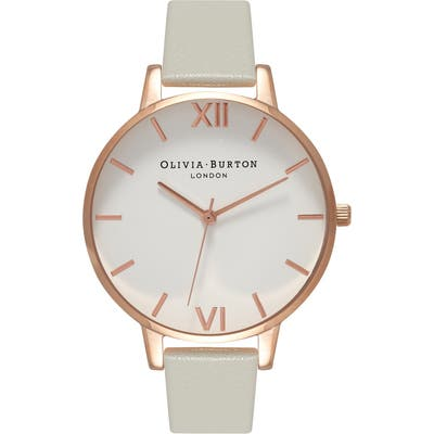 Olivia Burton Big Dial Leather Strap Watch,