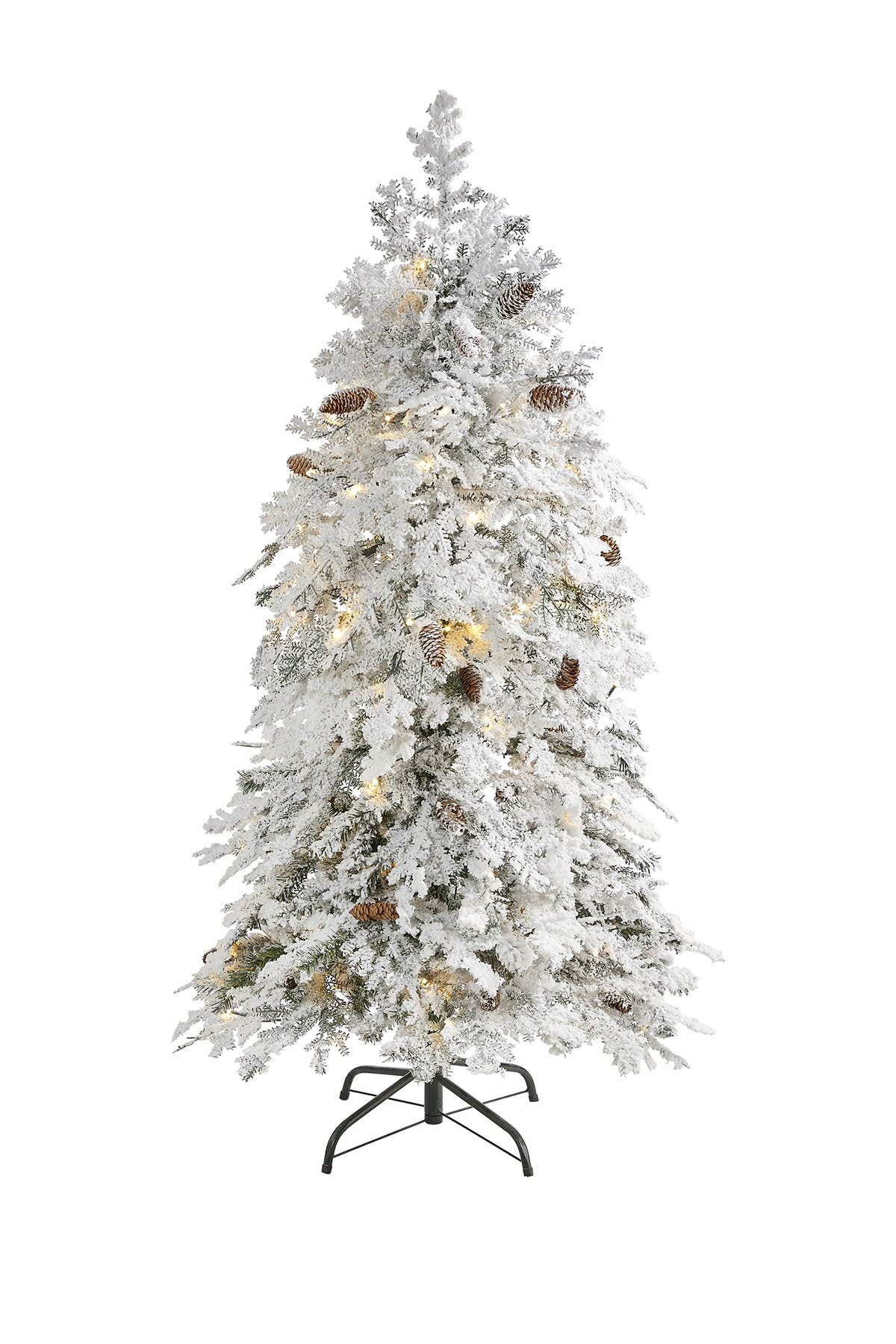 Image of NEARLY NATURAL 5ft. Flocked Montana Down Swept Spruce Artificial Christmas Tree