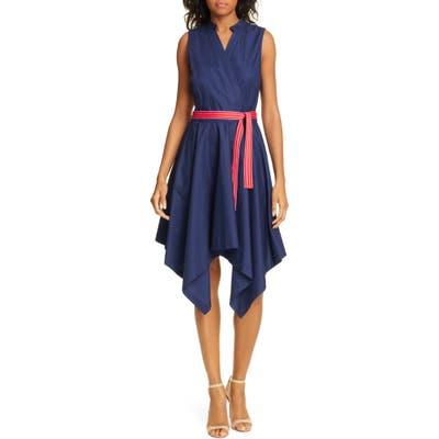 Dvf Marlene Handkerchief Hem Stretch Cotton Wrap Dress, Blue