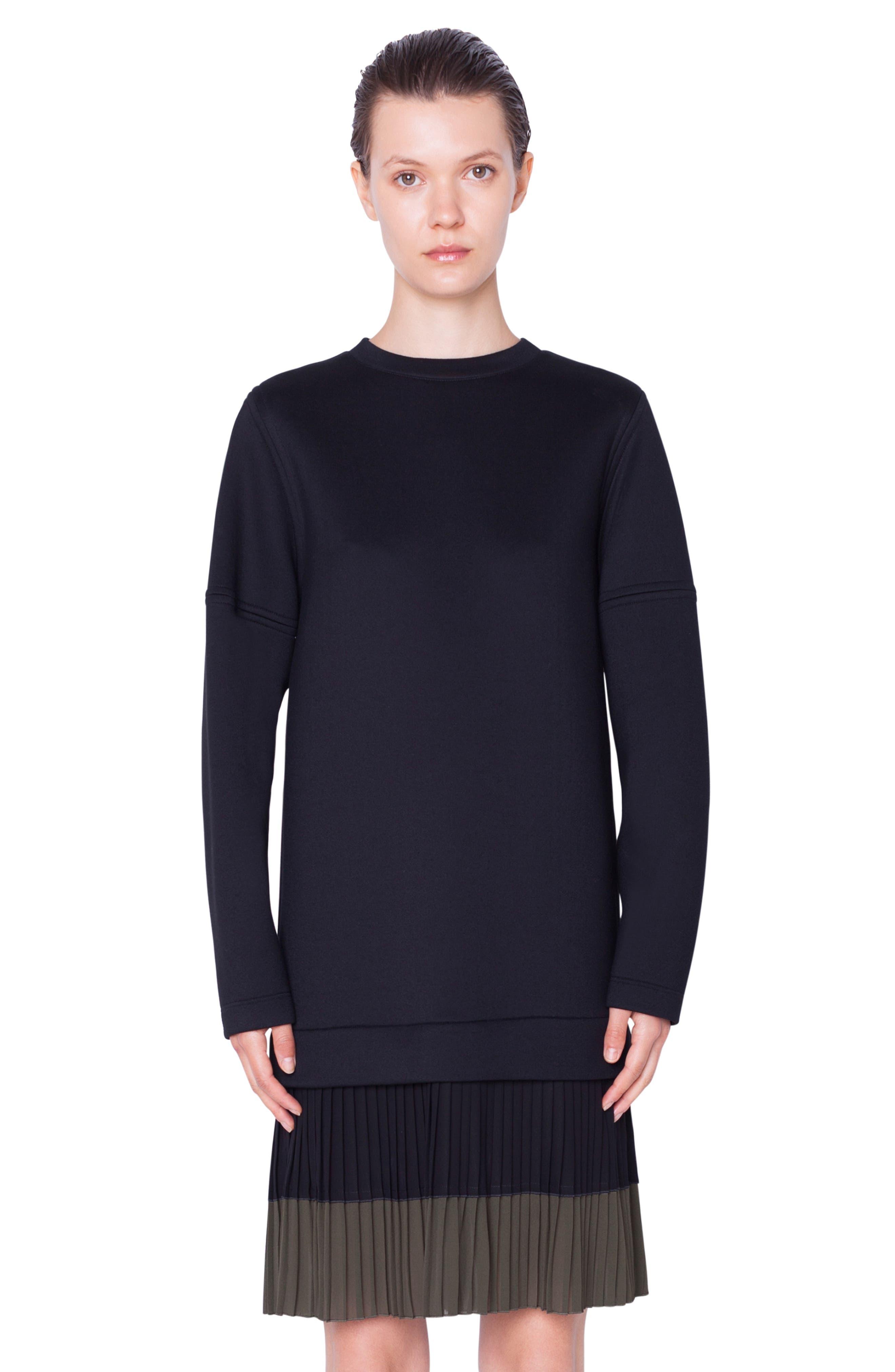 ,                             Pleated Hem Sweatshirt Dress,                             Alternate thumbnail 5, color,                             NERO-OLIVA