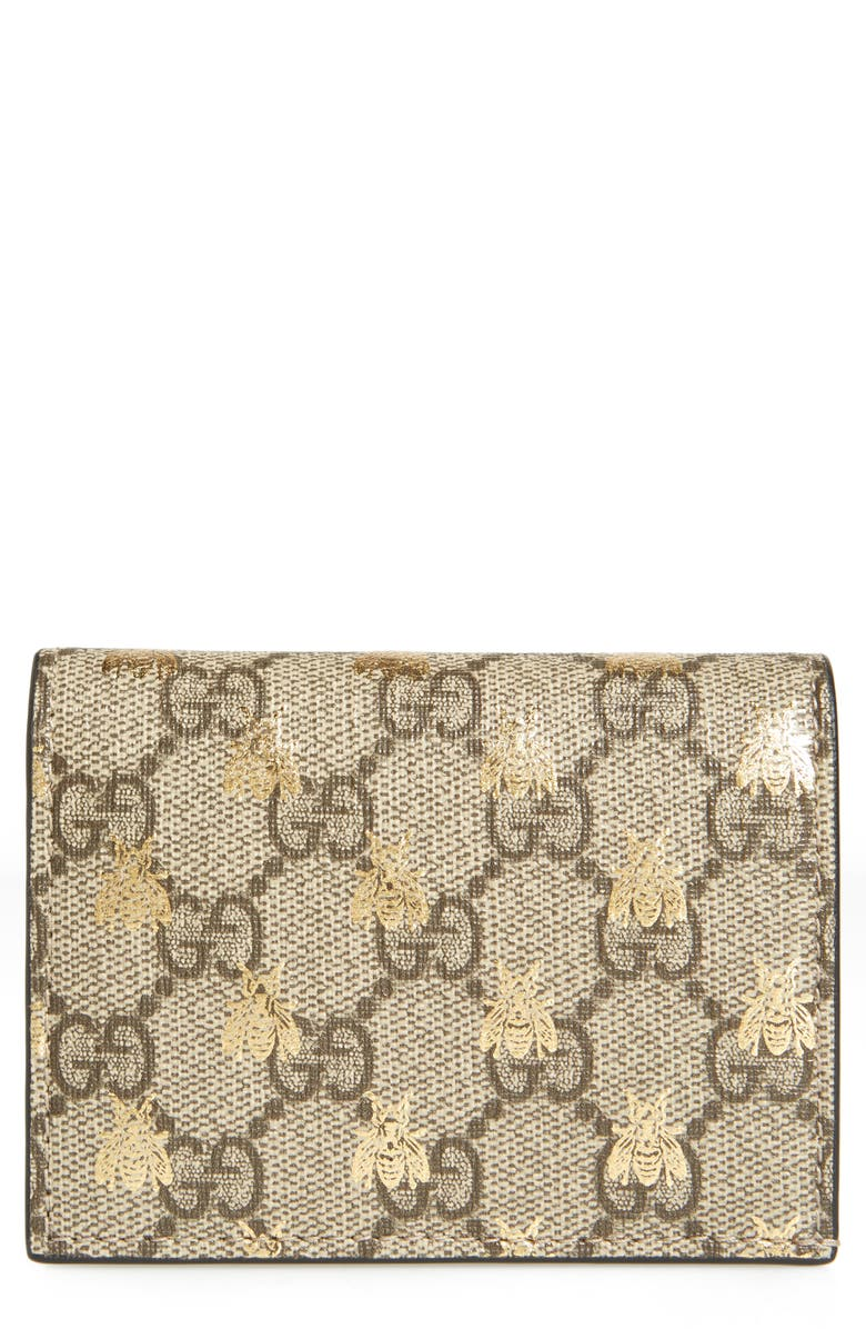 GUCCI GG Supreme Bee Canvas Bifold Wallet, Main, color, BEIGE EBONY ORO/ NERO