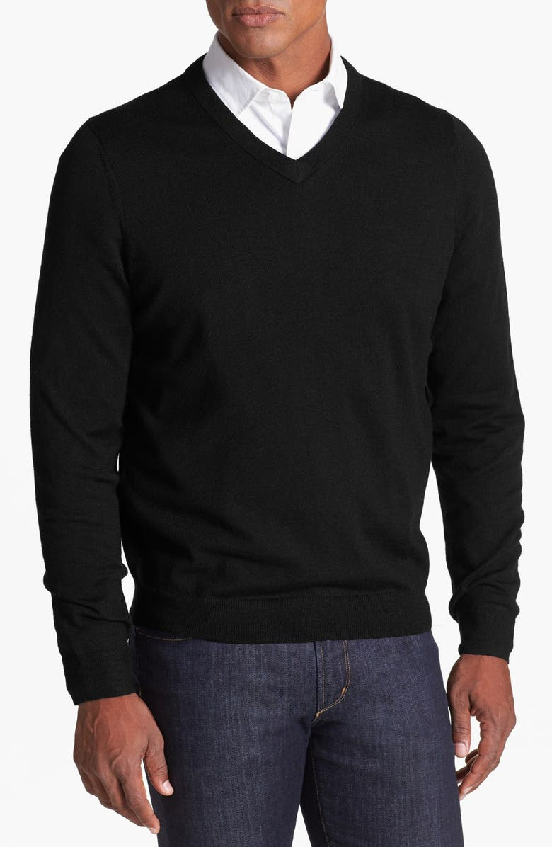 NORDSTROM MEN'S SHOP Merino Wool V-Neck Sweater, Main, color, 001
