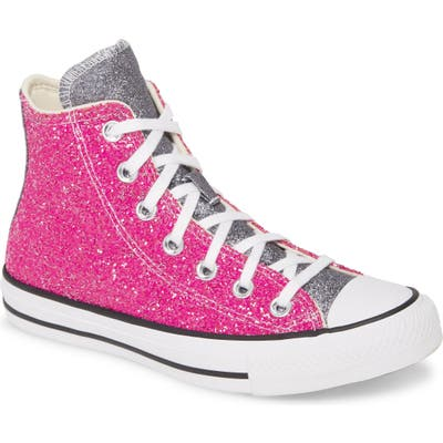 Converse Chuck Taylor All Star Glitter High Top Sneaker, Pink