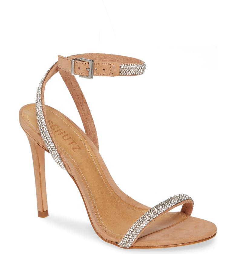 SCHUTZ Ankle Strap Sandal, Main, color, HONEY BEIGE/ CRISTAL