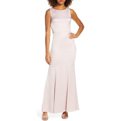 Chi Chi London Ayse Lace Back Satin Trumpet Gown, Pink