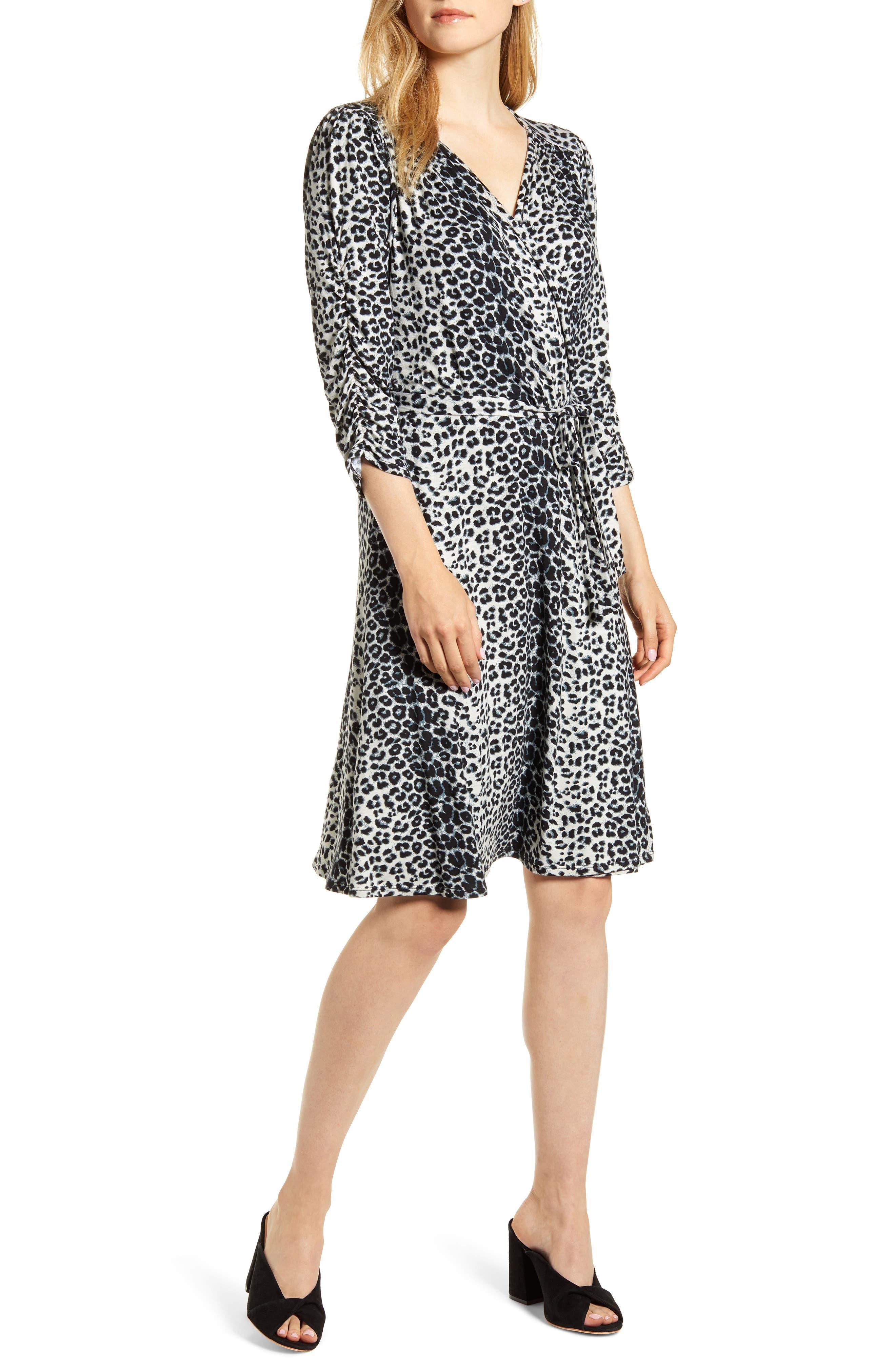 Women's Loveapella Leopard Print Wrap Front Dress
