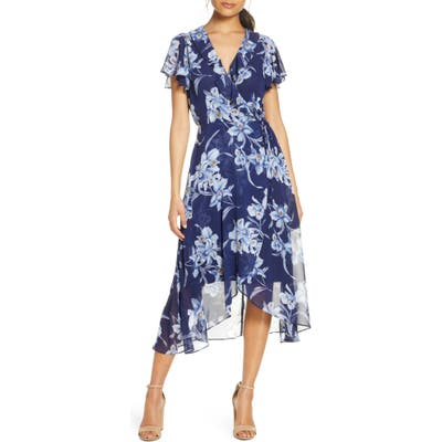 Julia Jordan Ruffle Floral Wrap Dress, Blue