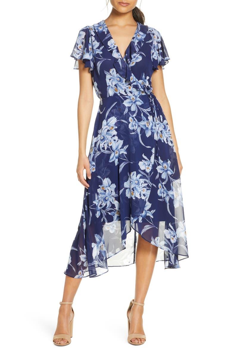 JULIA JORDAN Ruffle Floral Wrap Dress, Main, color, BLUE MULTI