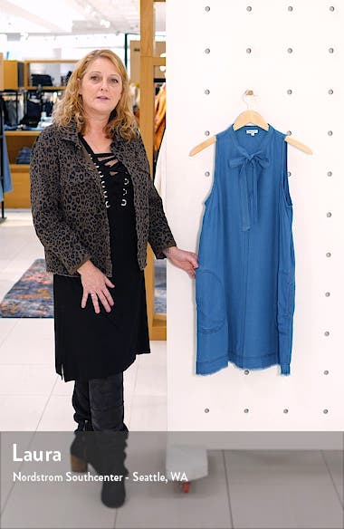 Tie Neck Sleeveless Chambray Shift Dress, sales video thumbnail